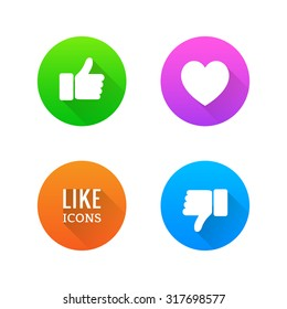 Like, dislike, heart icons with long shadow. Vector illustration.