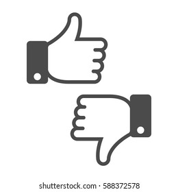 Like and Dislike icon. Thumbs up and down sign in flat style. Concept for user feedback for social network. Vector illustration. EPS 10.
