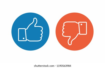 Like and dislike icon. Thumbs up and thumbs down.Mail Icon Symbols vector. symbol for web site Computer and mobile vector.