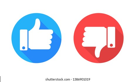 Like and dislike icons in flat style vector