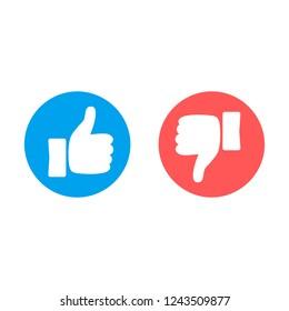 Like and dislike icons on white background. Vector illustration.