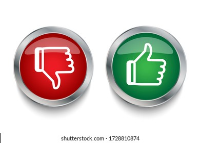 Like and dislike icons red and green. Icons with metal strokes thumbs up and thumbs down. Vector illustration. Stock photo.