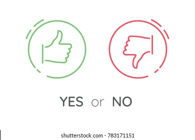 "Like and dislike icons set. Selection buttons between ""no"" and ""yes"". Set of modern color and style."