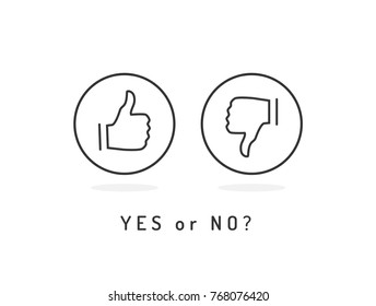 Like and dislike icons set. Thumb up and thumb down. Yes or no? Trendy flat vector.