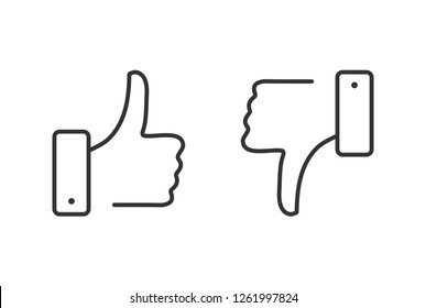 Like and dislike line icons set. Thumbs up and thumbs down. Dislike and like button. Modern outline elements, graphic design concepts, linear symbols collection