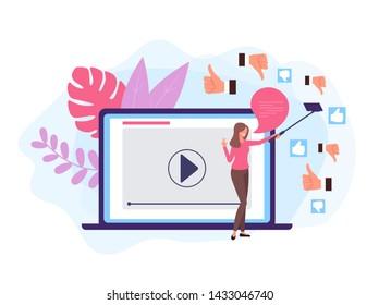 Like Dislike online video blogger concept. Vector design graphic flat cartoon illustration