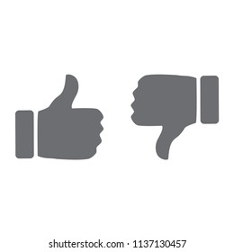 like and dislike thumb button vector icon, modern icon with white background