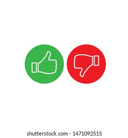 Like and Dislike vector contour Icons. Design Elements for smm, ad, marketing, ui, ux, app and more. Thumb up and thumb down blue and red icons.