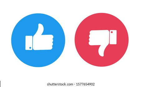 Like and Dislike vector flat Icons. Thumbs up and thumbs down circle emblems.
