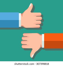 Like and Dislike vector illustration. Thumbs up and thumbs down hand sign. Flat style