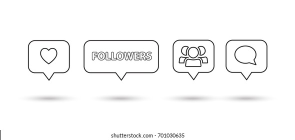 Like, follower, comment icons, speech bubbles, followers black line icon, isolated on white background with shadow. Logo talk bubble liner icon. Vector illustration. Social media element design.