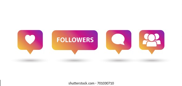 Like, follower, comment icons, speech bubbles, followers icon multicolored, isolated on white background with shadow. Logo sunset color gradient. Vector button. Social media element design.