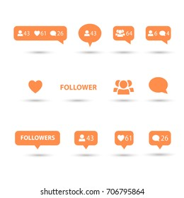 Like, follower, comment icons, speech bubbles, followers icon, heart logo, orange color and shadow. Logo talk bubble set. Vector internet button template. Social media element flat design collection