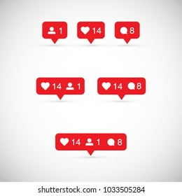 Like, follower, comment icons. Vector illustration.
