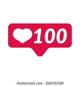 Like, follower icon. Follower Icon like. Like icon, heart icon. Social media 100 like. Vector illustration. EPS 10.