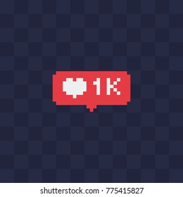 Like, follower icon. Pixel art. Heart social media notification. Web site design. 8-bit. Isolated abstract pixel art vector illustrations.
