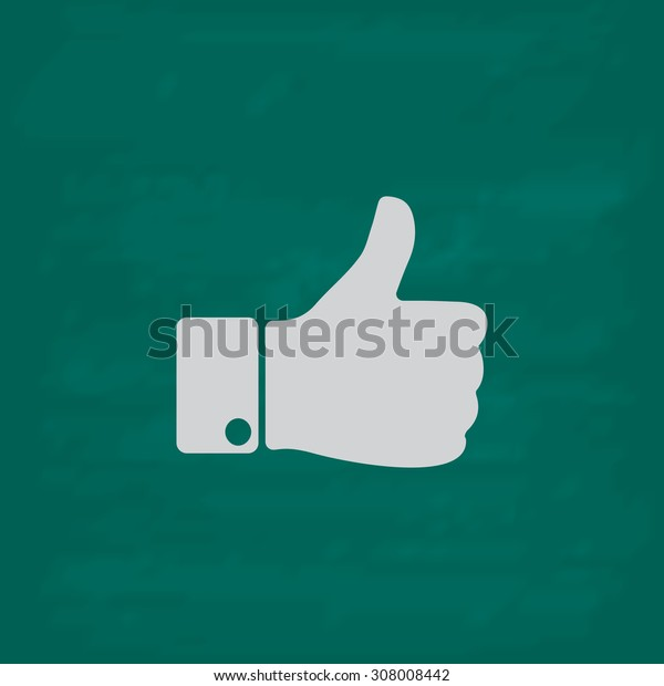 LIKE - hand. Icon. Imitation draw with white chalk on green chalkboard. Flat Pictogram and School board background. Vector illustration symbol