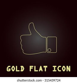 LIKE - hand. Outline gold flat pictogram on dark background with simple text.Vector Illustration trend icon
