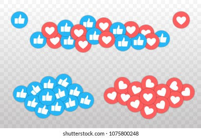 Like and Heart icon. Live stream video, chat, likes. Social nets blue thumb up like and red heart web buttons isolated on white background. Vector illustaration