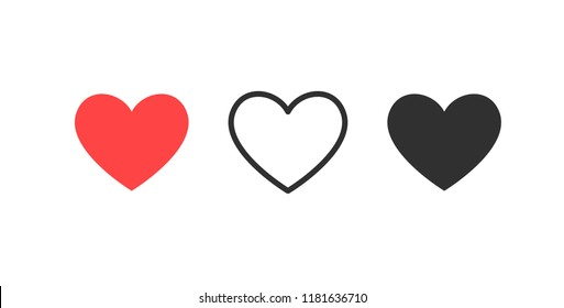 Like and Heart icon. Live stream video, chat, likes. Social nets like red heart web buttons isolated on white background.\nValentines Day. Vector illustaration.
