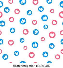 Like and heart icon seamless pattern background. Vector illustration.Thumb up  and heart seamless background.
