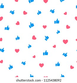 Like and heart icon seamless pattern background. Vector illustration.