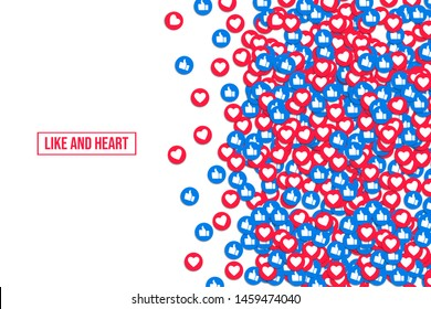 Like and heart icons background, vector illustration