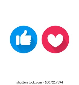 Like and heart icons template for social nets or live video chat app web design. Vector isolated blue thumb up like and red heart buttons set