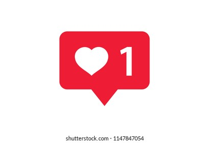 Like and Heart Love Icon. Liked Red Bubble on a white background