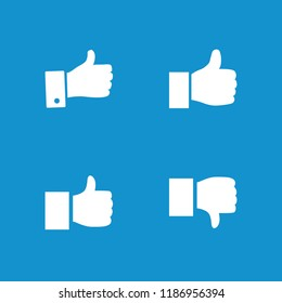 Like icon. collection of 4 like filled icons such as thumb up. editable like icons for web and mobile.