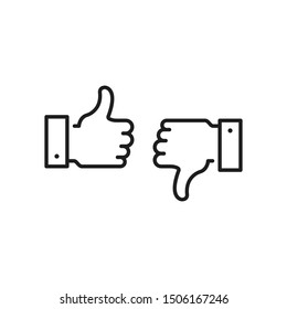 Like icon and dislike. Thumbs up and thumbs down. Black color. Modern concept. Simple stroke outline thin line design. Vector icons set isolated on white background