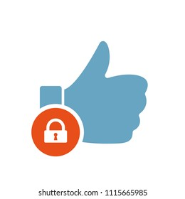 Like icon, gestures icon with padlock sign. Like icon and security, protection, privacy symbol. Vector illustration