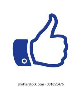 Like  icon. Hand finger up sign. Thumb up symbol. Flat design style.