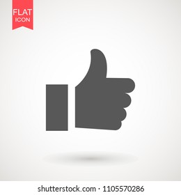 Like Icon in trendy flat style isolated on white background. Thumbs up icon. Social network vector icon for app, web site etc. Like symbol for your web site design, logo, app, UI