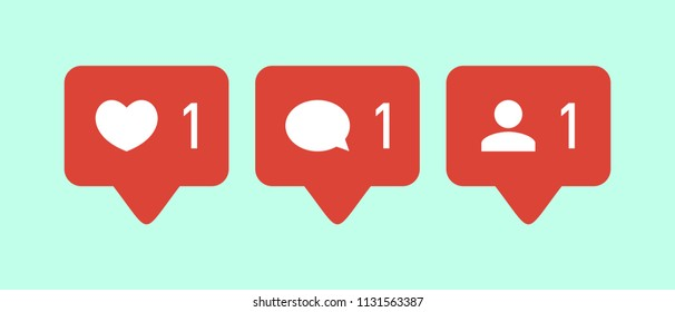 Like icon vector. Comment icon vector. Follower icon vector. Social media. Social network. Notification Icon.