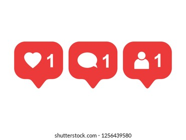 Like icon vector. Comment icon vector. Follower icon vector. Social media. Social network. Notification Icon.