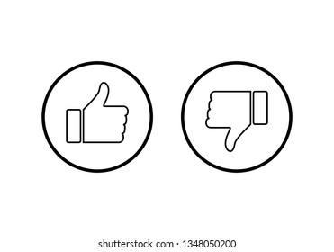 like icon vector. Thumbs up icon. social media icon. Like and dislike icon. Thumbs up and thumbs down