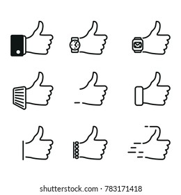 """""""Like"""" icons in different versions.  Set of modern and trendy style. Vector illustration, linear and thin."""