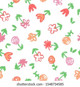 Like kid`s hand drawn wax crayon seamless floral simple pattern with small red pink cute flowers. Pastel chalk or pencil artistic doodle soft color stroke vector background. Summer or spring ornament