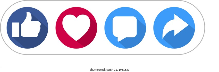 Like Love Comment Share social network Icon set and longshadow on white background.