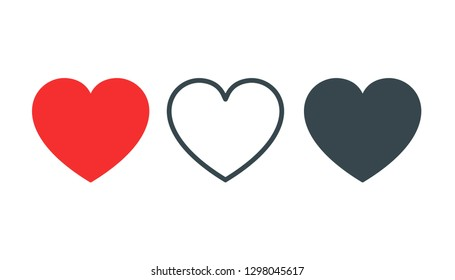 Like and Love icon. Heart for Live stream, chat, likes. Social app icon like red heart web symbol or button isolated on white. Vector EPS 10