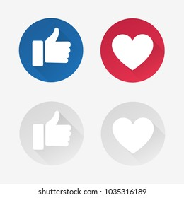 Like and love social media icons set for web use