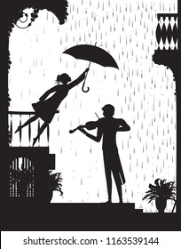 like the melody, romantic scene in the city with violin, Girl on the balcony holding the umbrella above a violinist. Music under the rain, black and white, shadow, vector