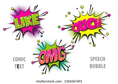 like ouch omg pop art style set hand drawn sound effects template comics book text speech bubble. Halftone dot background.
