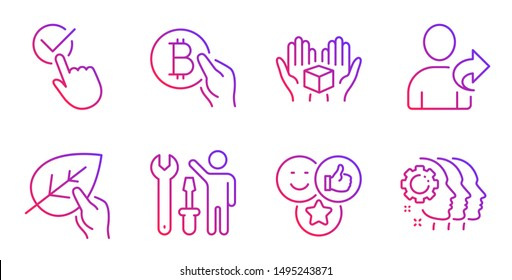 Like, Refer friend and Repairman line icons set. Bitcoin pay, Organic tested and Hold box signs. Checkbox, Employees teamwork symbols. Social media likes, Share. People set. Gradient like icon. Vector