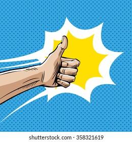 Like sign gesture thumb isolated comic book pop art, vector illustration