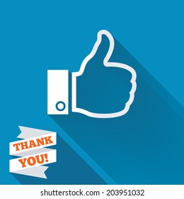 Like sign icon. Thumb up sign. Hand finger up symbol. White flat icon with long shadow. Paper ribbon label with Thank you text. Vector