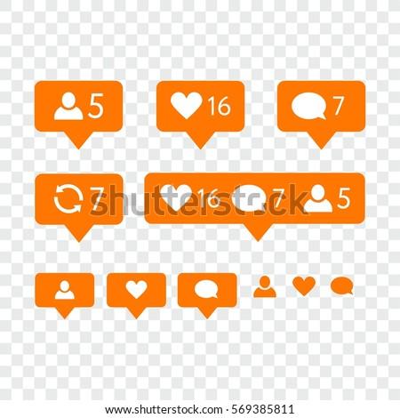 Like Symbol Message Notification Set Instagram Stock Vector Royalty