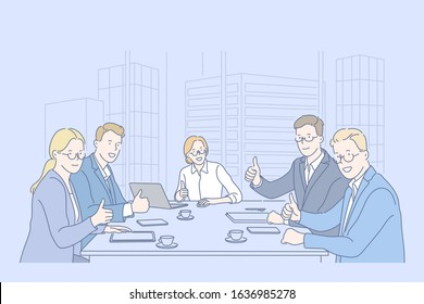 Like, teamwork, business, team concept. Group of business men and businesswomen do teamwork in office together and show like. Boys and girls coworkers sitting at table in cabinet. Simple flat vector