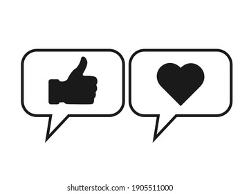 Like or thumb up and heart icons.Vector illustration isolated on white background,EPS 10
